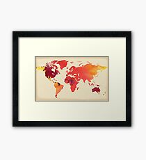 Hot and Vivid World Map Watercolor Framed Print