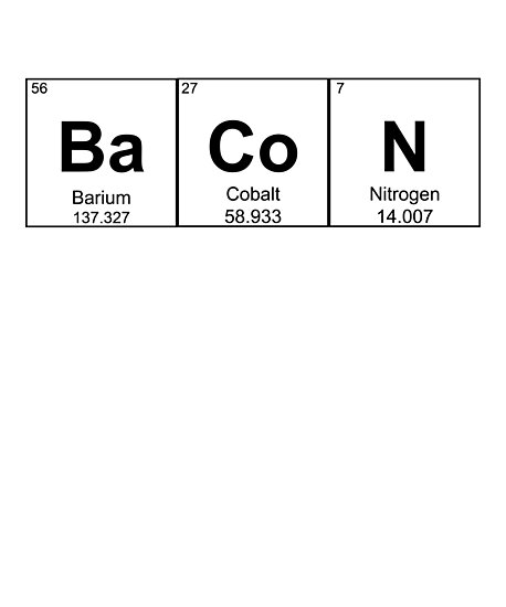 Bacon Chemistry Element Periodic Table Science Pun Photographic