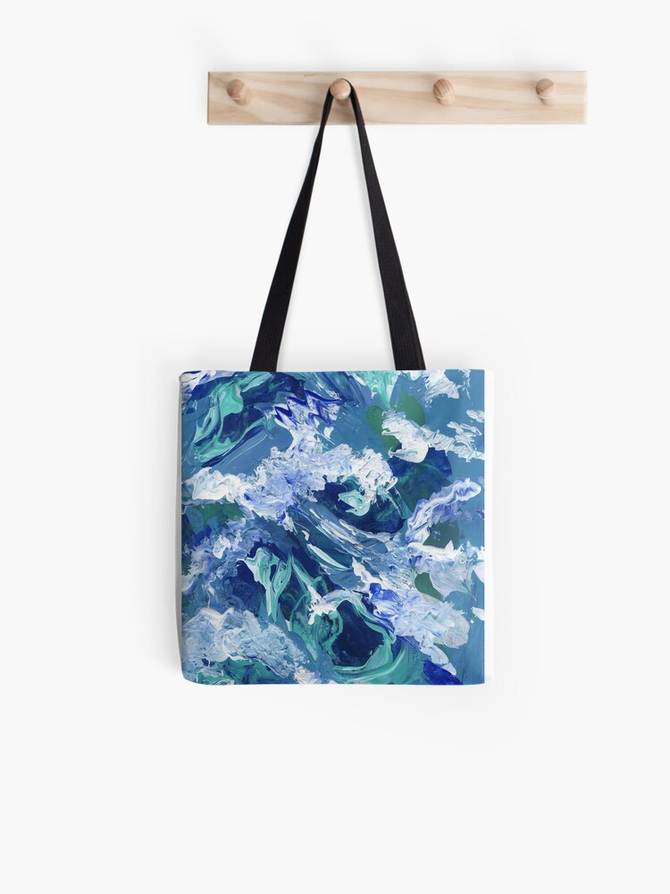 Abstract Waves Acrylic Blue Painting Abstract Waves Acrylic Painting Blue Canvas Tote Bag