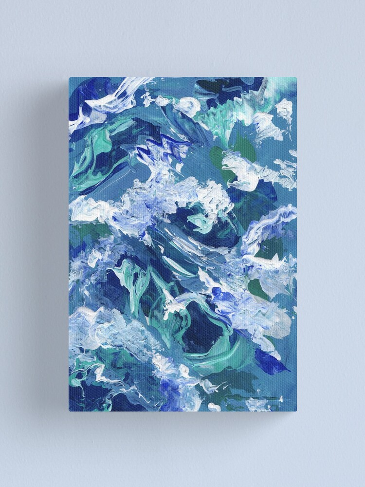 Abstract Waves Acrylic Blue Painting / Abstract Waves Acrylic