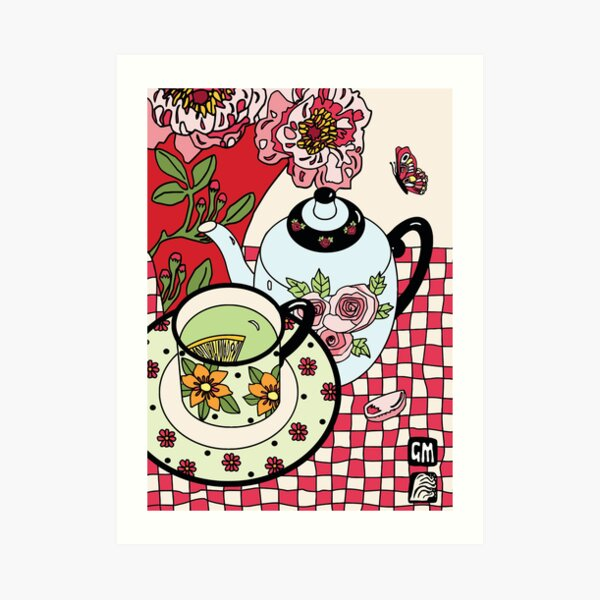 Green Tea and Rhododendrons Art Print