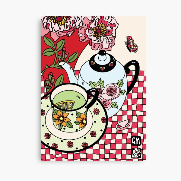 Green Tea and Rhododendrons Canvas Print