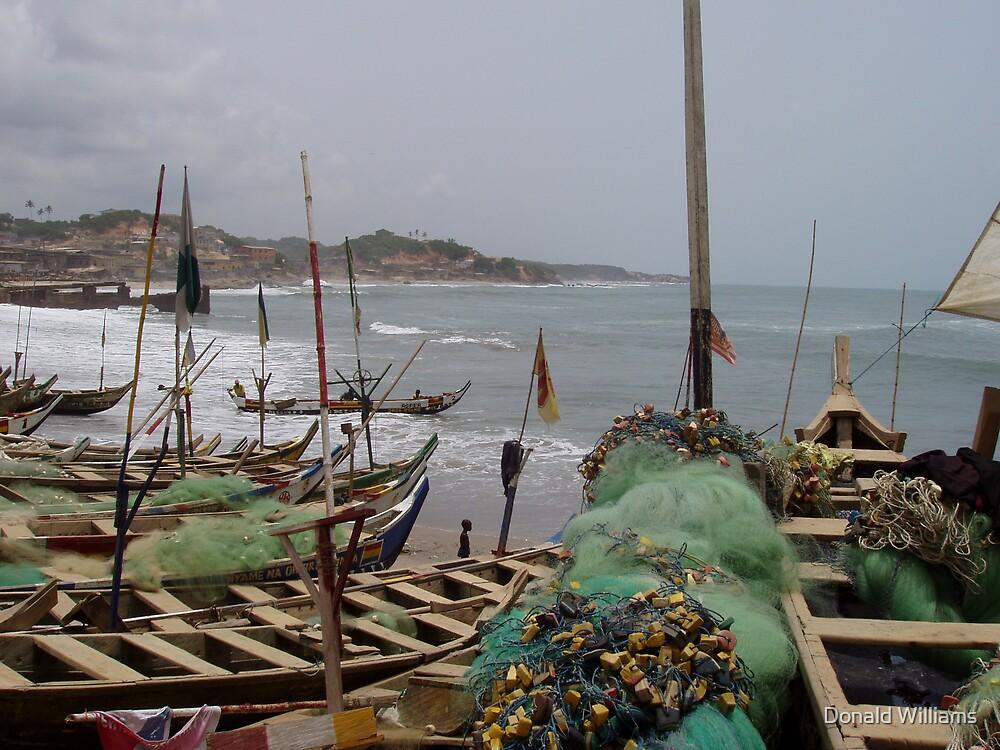 Fishing boats, Atlantic coast, Ghana by Donald Williams