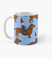 Gnome Riding a Dachshund Pattern, Light Blue Background Mug