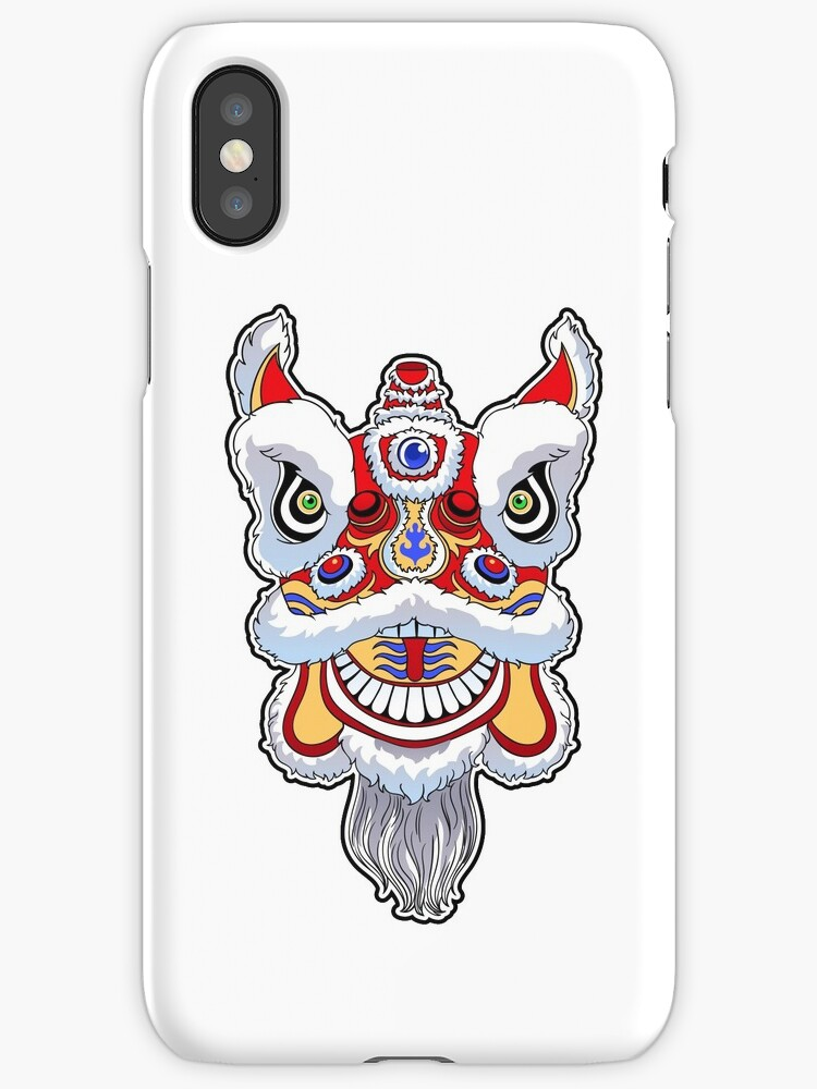 Chinese Lion Head Dance Iphone Cases Covers By Mazeina Redbubble