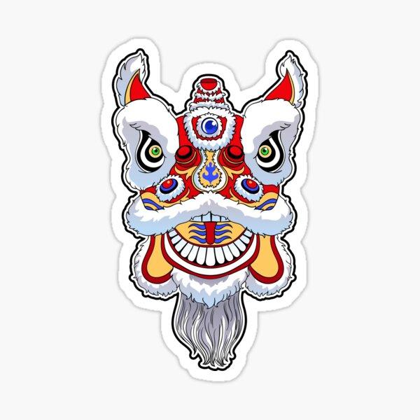 Chinese lion head dance. Sticker