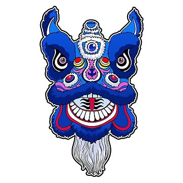 Chinese Lion Head Dance Tri Blend T Shirt By Mazeina Redbubble