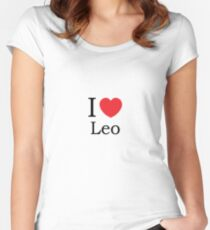 I Love Leo - With Simple Love Heart Women's Fitted Scoop T-Shirt