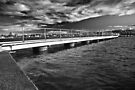 Moody sky over Lake Macquarie wharf by Liz Percival