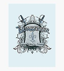 Official Burketeer Logo Badge Blue Photographic Print