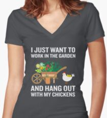 Funny Work In Garden Be With Chickens Colorful Floral Women's Fitted V-Neck T-Shirt