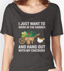 Funny Work In Garden Be With Chickens Colorful Floral Women's Relaxed Fit T-Shirt