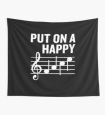 Put On a Happy Face Funny Music Note Joke Wall Tapestry