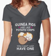 Guinea Pigs Are Like Potato Chips Funny Quote Cute  Women's Fitted V-Neck T-Shirt