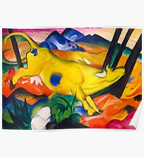 Yellow Cow Modern Pop Art Painting Poster