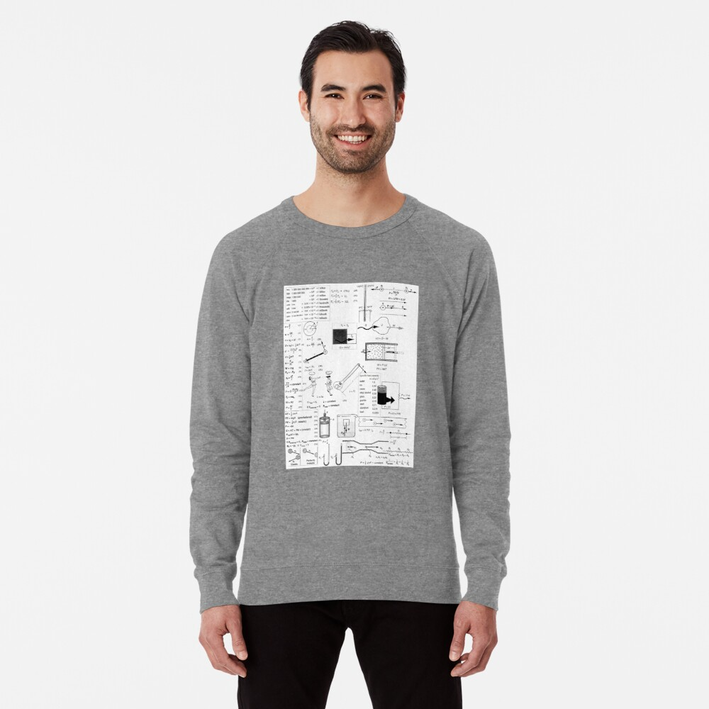 General Physics Formula Set, ssrco,lightweight_sweatshirt,mens,heather_grey_lightweight_raglan_sweatshirt,front,square_three_quarter,x1000-bg,f8f8f8