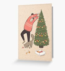 Decorating a Christmas tree - digital illustration with paper texture Greeting Card