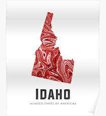 Idaho Map Art Abstract in Red Poster