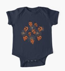 Orange Leaves With Holes And Spiderwebs One Piece - Short Sleeve