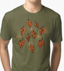 Orange Leaves With Holes And Spiderwebs Tri-blend T-Shirt