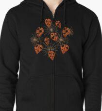 Orange Leaves With Holes And Spiderwebs Zipped Hoodie