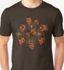Orange Leaves With Holes And Spiderwebs Unisex T-Shirt
