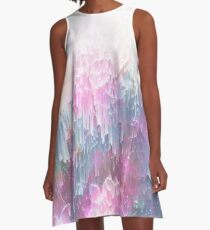Frozen Magical Nature - Glitch Pink and Lagoon Blue  A-Line Dress