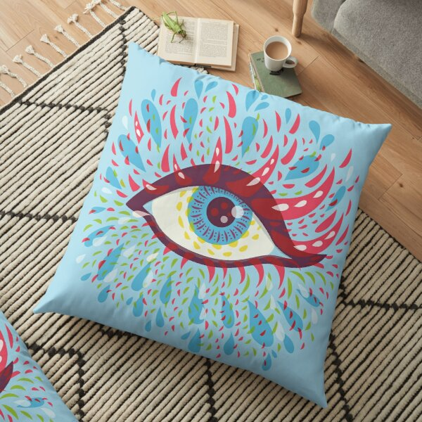 Weird Blue Psychedelic Eye Floor Pillow