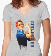Rosie girl power, propaganda icon Women's Fitted V-Neck T-Shirt