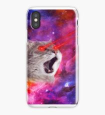 Cool crazy angry Cat with laser eyes in space galaxy  iPhone Case/Skin