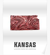 Kansas Map Art Abstract in Deep Red Poster