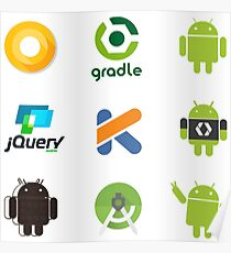Android stickers - 9 in 1 Poster