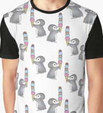 Ice Cream Penguin Graphic T-Shirt
