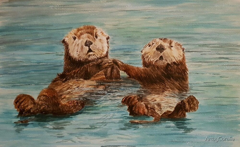 Cute Otters Holding Hands By Artbycoralie Redbubble