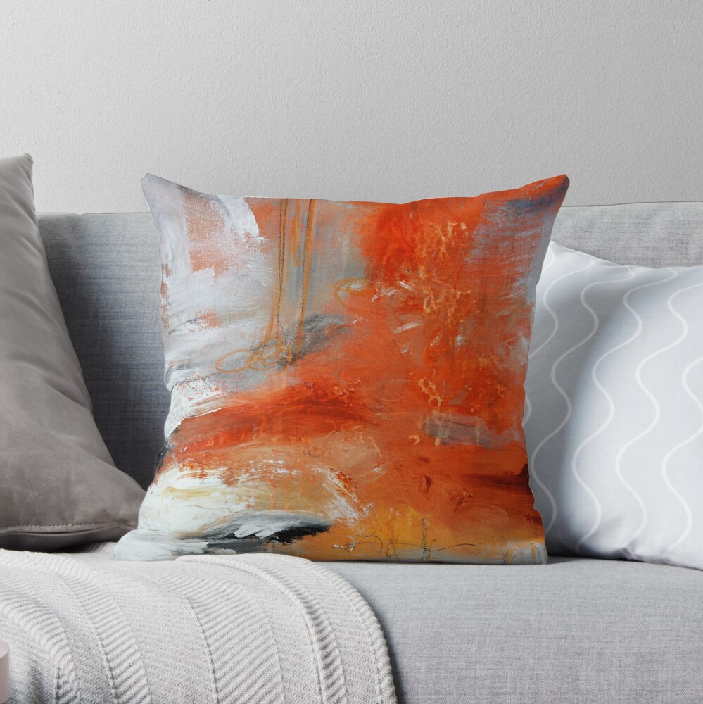 Red Orange Abstract Print  Throw Pillow