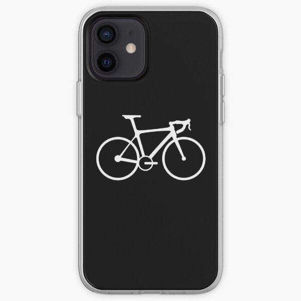 Bicycle. Racing Bike. Road Bike. Racing Bicycle. White on Black. iPhone Soft Case