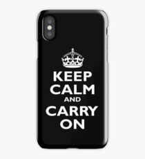 KEEP CALM, Keep Calm & Carry On, Be British! Blighty, UK, United Kingdom, white on black iPhone Case/Skin
