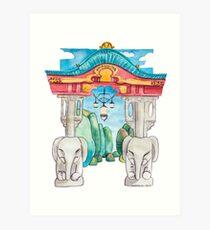 Elefantentor aus Berlin Tiergarten in Aquarell illustriert Kunstdruck