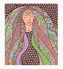 Shaman hippie girl with ornate hair Photographic Print