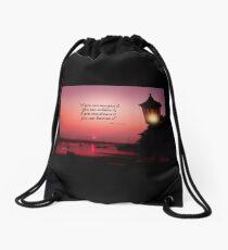 Lamp at Sunset Drawstring Bag