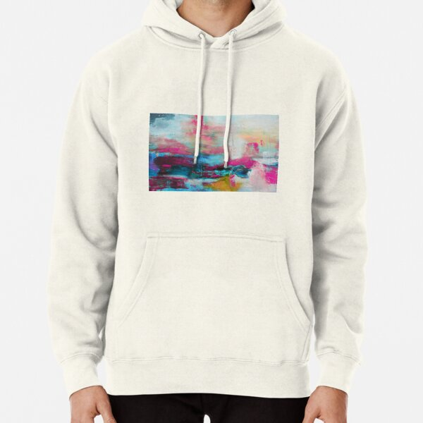 Aqua Pink Abstract Print from Original Painting  Pullover Hoodie