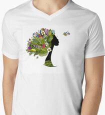 Tropical girl Men's V-Neck T-Shirt