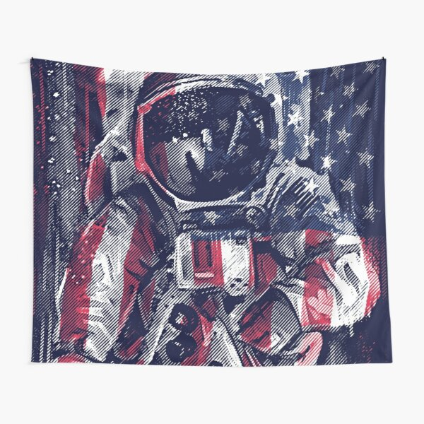 Astronaut Flag Tapestry