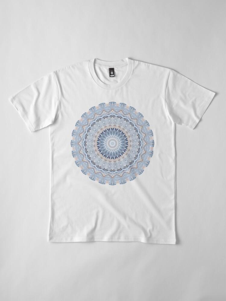 Alternate view of Serenity Mandala in Blue, White & Ivory Premium T-Shirt