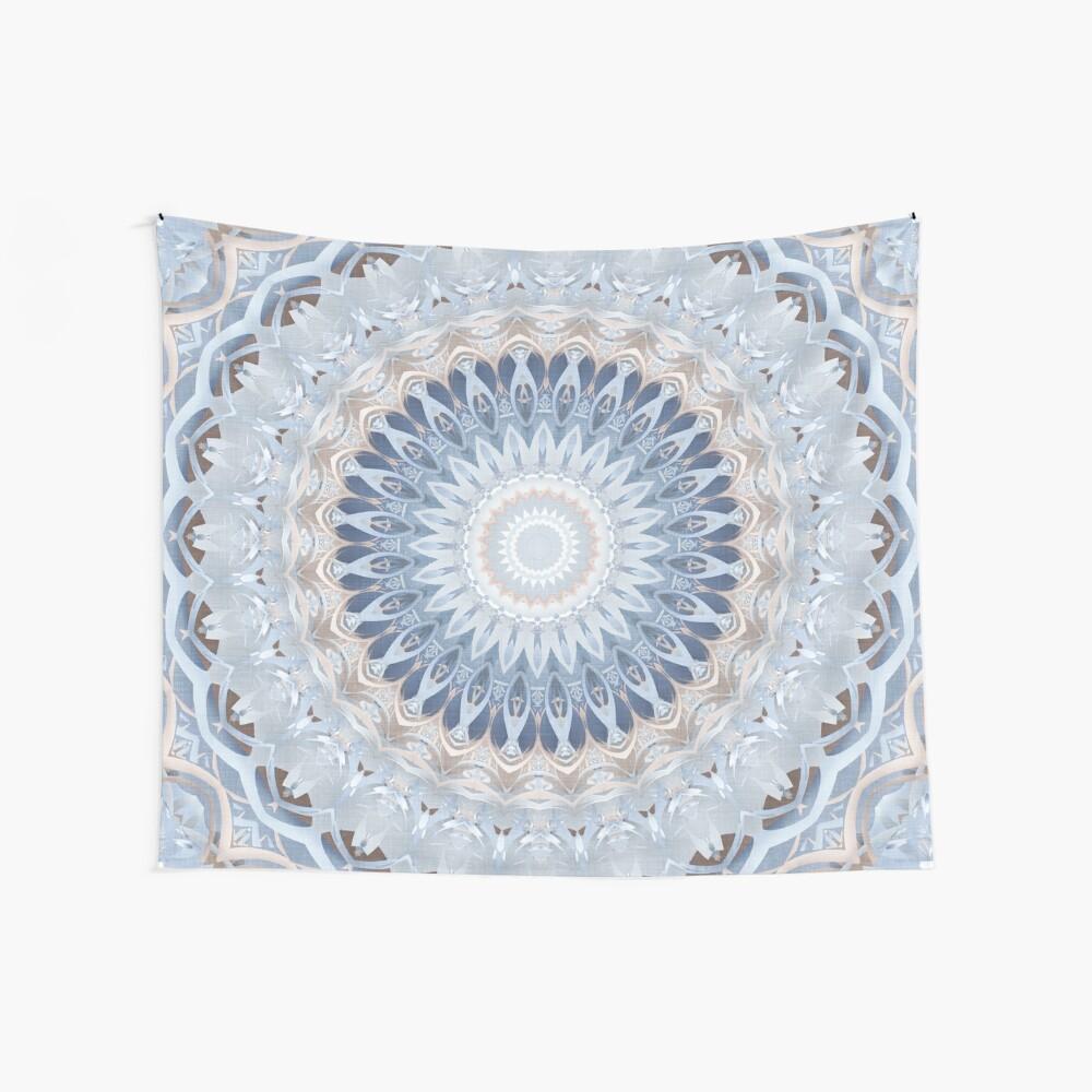 Serenity Mandala in Blue, White & Ivory Wall Tapestry
