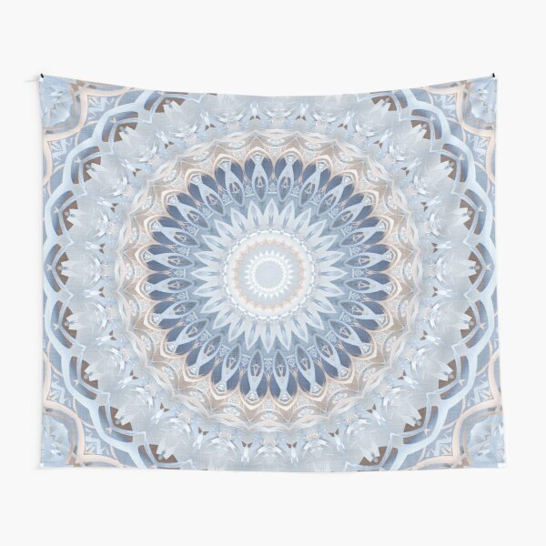 Serenity Mandala in Blue, White & Ivory Tapestry