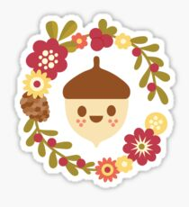 Acorn and Flowers / Blush Pink Sticker
