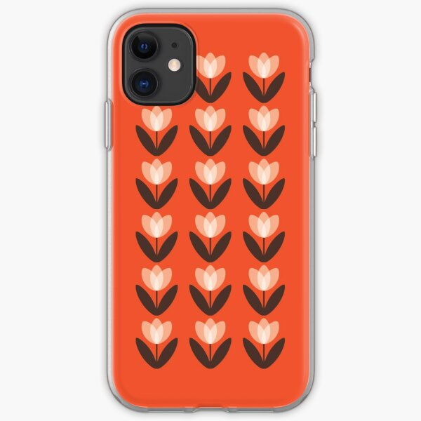 Tulip Pattern Phone Case in Coral Red iPhone Soft Case