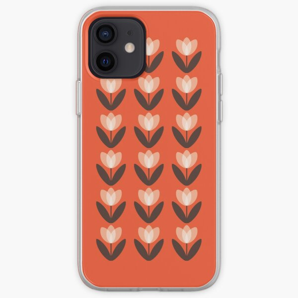 Retro Tulip Pattern in Coral Red iPhone Soft Case
