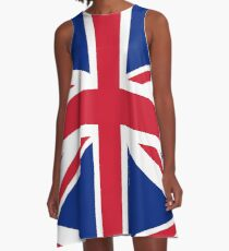 Union Jack, FULL COVER, British Flag, UK, United Kingdom, Pure & simple, 1:2 A-Line Dress